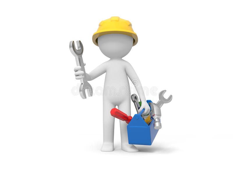 Technician with tool vector illustration