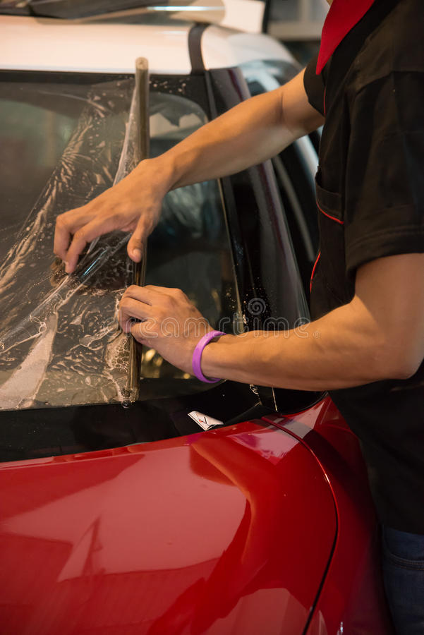 Technicians automotive films. royalty free stock photo