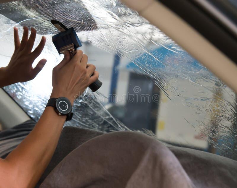 Technicians automotive films. royalty free stock images