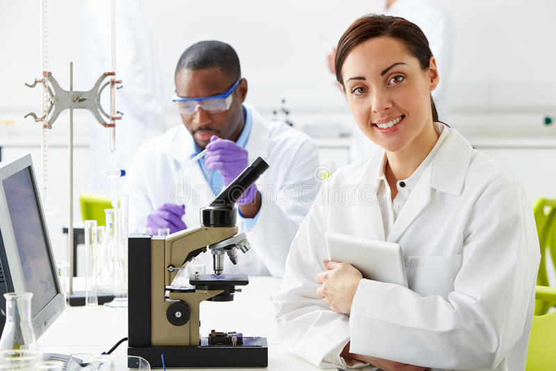 Technicians Carrying Out Research In Laboratory. Whilst Smiling royalty free stock photos