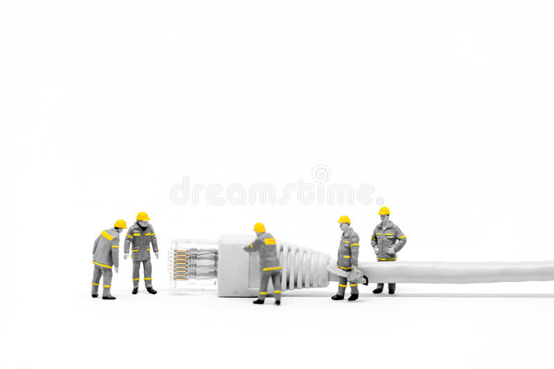 Technicians with cat5 network cable. Networking concept. Macro photo royalty free stock images