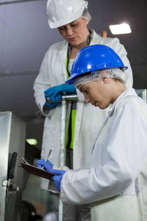 Technicians examining meat processing machine. At meat factory stock photos