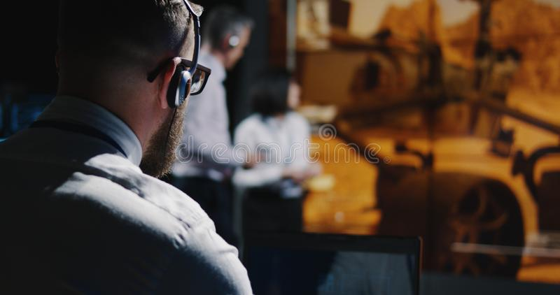 Technicians overviewing Mars landing royalty free stock images