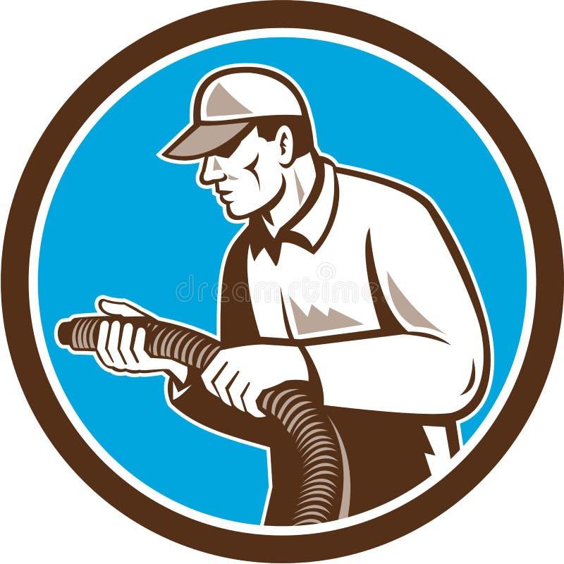 Technicien à la maison Retro Circle d'isolation illustration stock