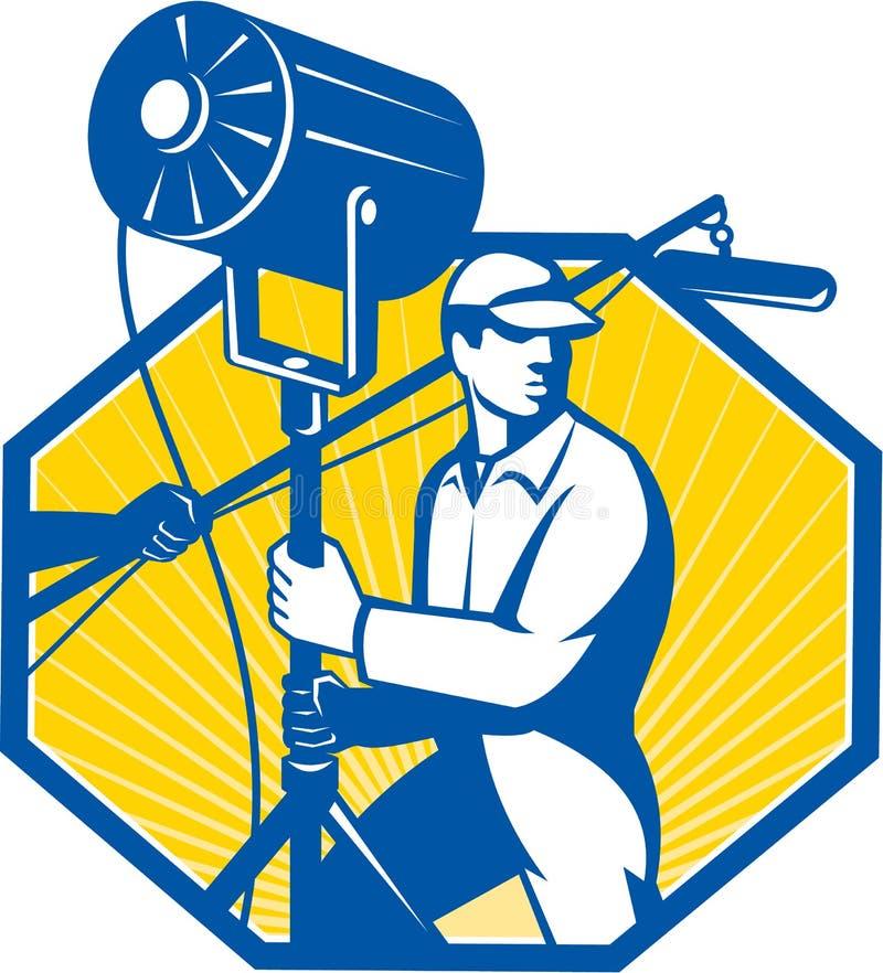 Technicien électrique Crew Spotlight d'éclairage illustration libre de droits