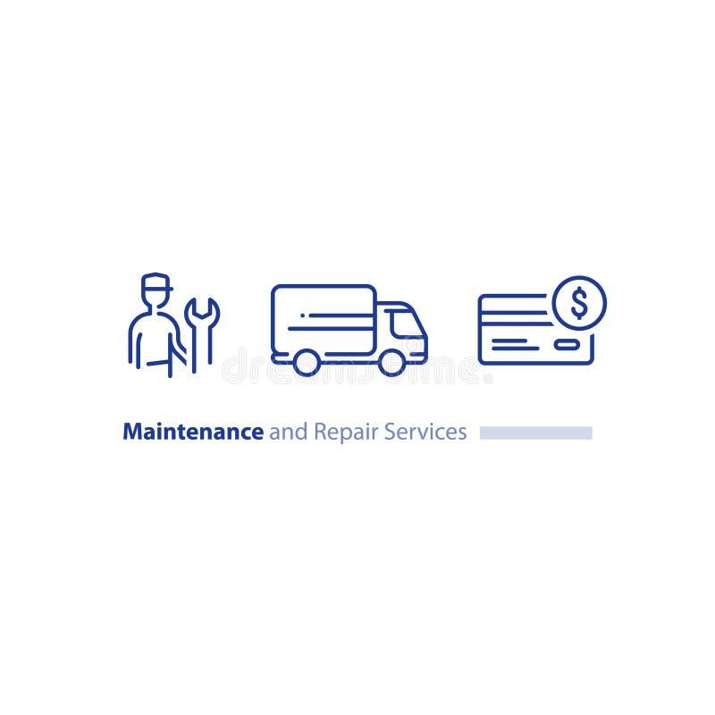 Technicien avec la clé, support à la clientèle, dépanneurs entretien, la livraison de camion, ensemble d'icône d'achat avec carte illustration stock