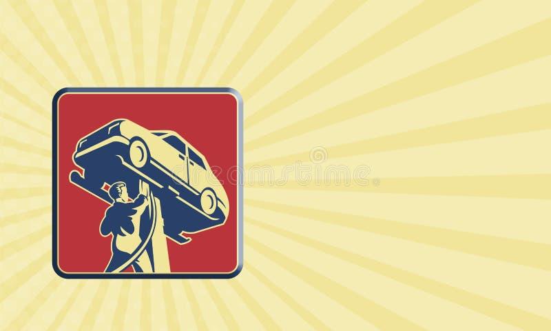 Technicien Car Repair Retro de mécanicien illustration stock