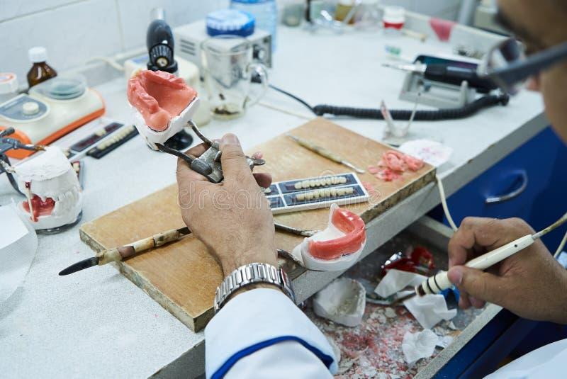 Technicien dentaire ou dentiste travaillant avec des dentiers de dent photographie stock libre de droits