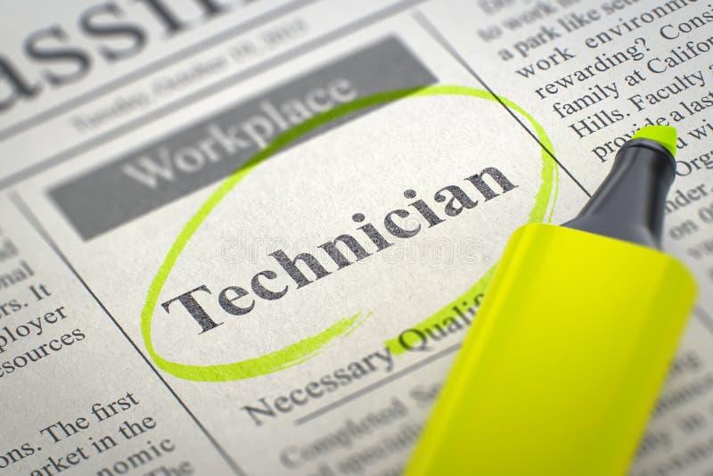 Technicien Hiring Now 3d illustration stock
