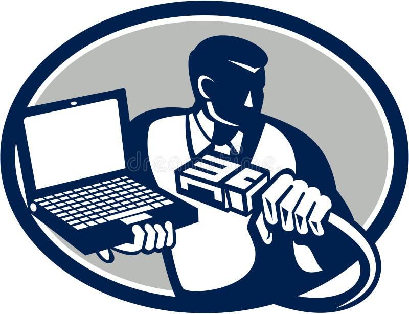 Technicien Holding Laptop Cable d'ordinateur rétro illustration stock