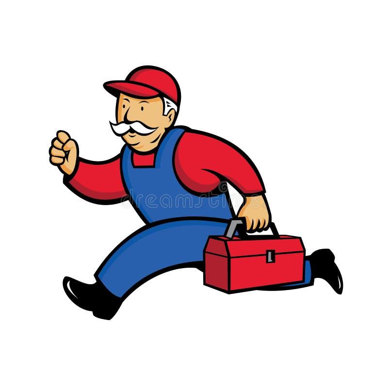 Technicien Running Cartoon d'Aircon illustration de vecteur