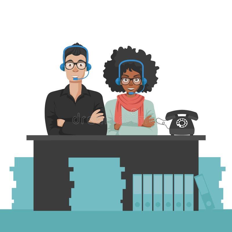 Techniciens de service de soin de client professionnel Concept de support Vecteur plat illustration libre de droits