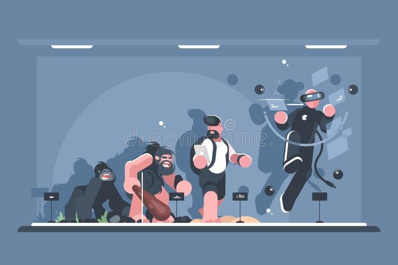 Techniczna ewolucja mężczyzna royalty ilustracja