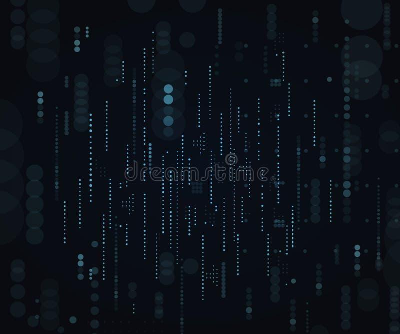 Techniczna ilustracja wektora ciemnego tła. Macierz. Kod komputera binarnego. Kropki spadające ilustracji