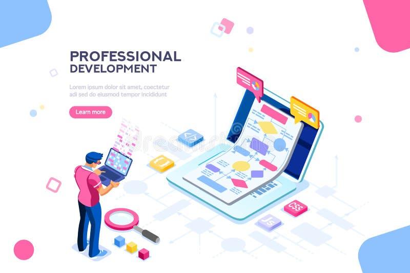 Techniczny interaktywny szablon dla strony internetowej ilustracja wektor