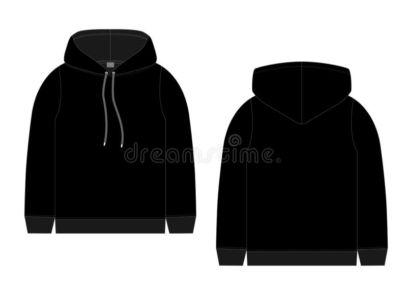 Techniczny nakreślenie dla mężczyzny czarnego hoodie Mockup szablon hoody ilustracji