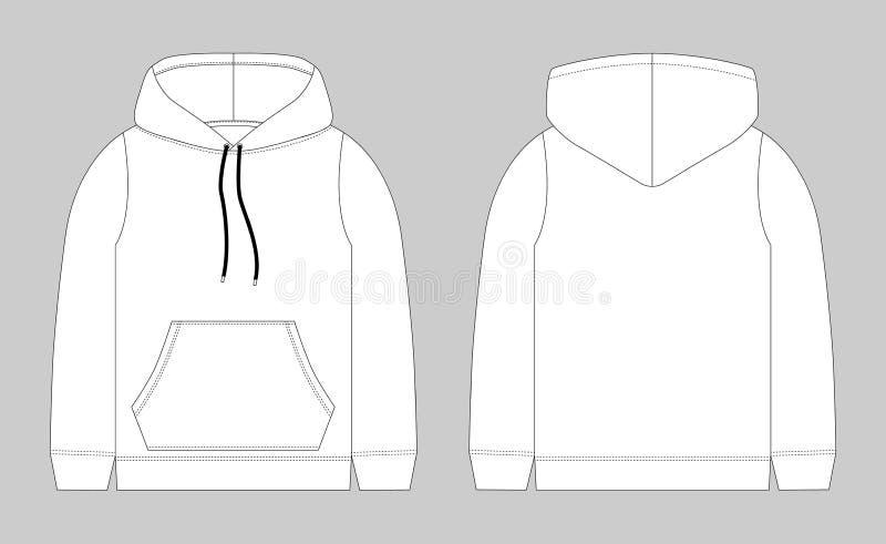 Techniczny nakreślenie dla mężczyzny hoodie Mockup szablon hoody ilustracji