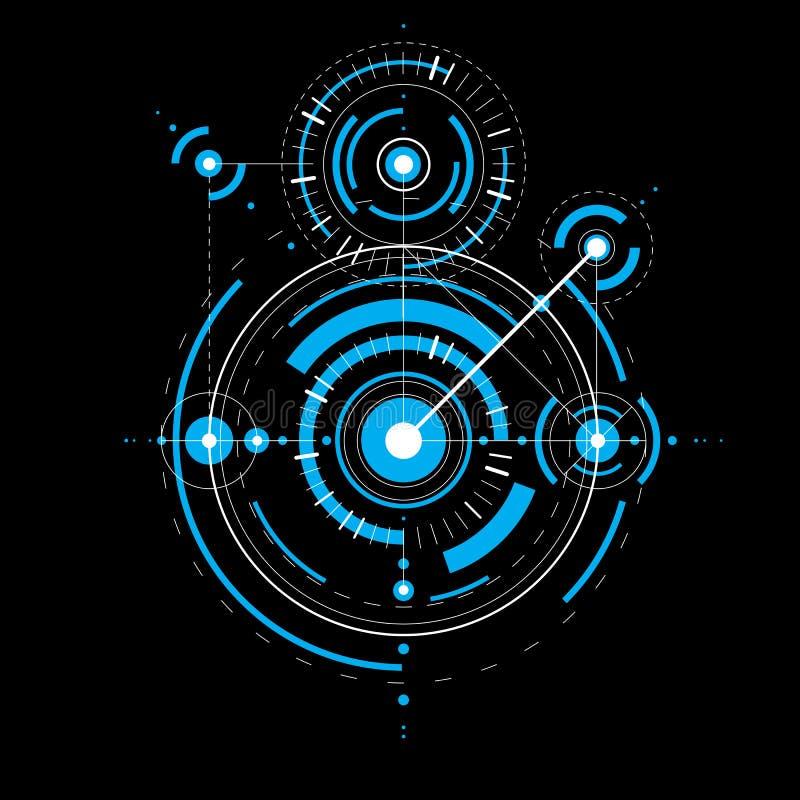 Techniczny projekt, błękitny wektorowy cyfrowy tło z geometr ilustracji