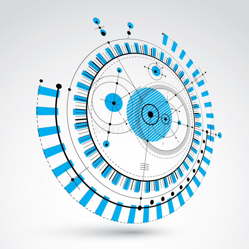 Techniczny projekt, błękitny wektorowy cyfrowy tło z geometr royalty ilustracja