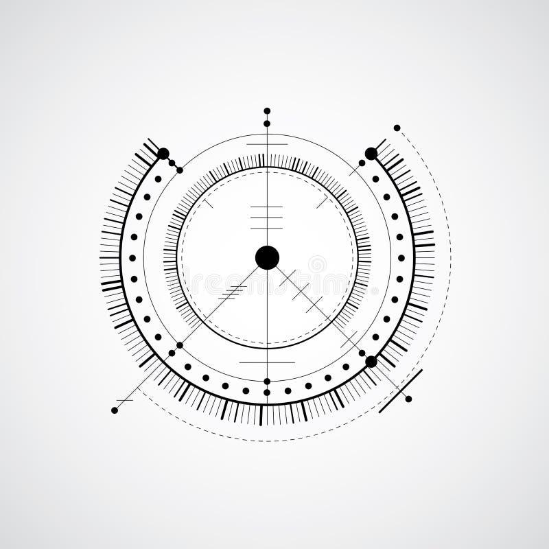 Techniczny projekt, czarny i biały wektorowy cyfrowy tło w ilustracja wektor