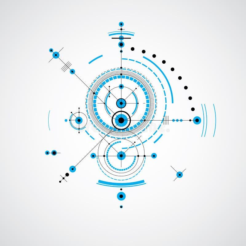Techniczny projekt, wektorowy cyfrowy tło z geometrycznym de ilustracji