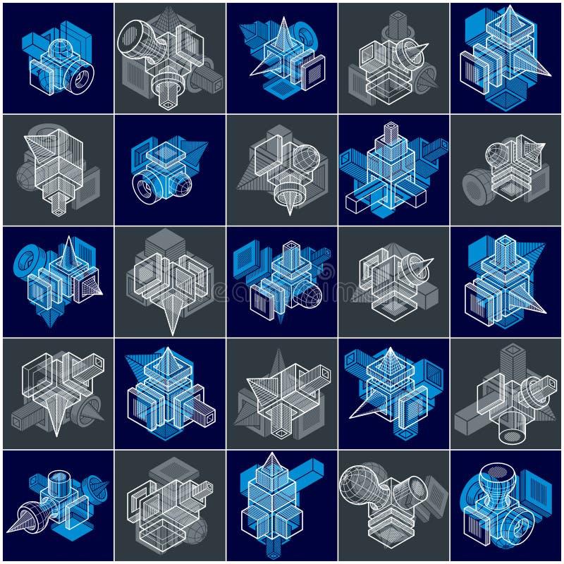 Techniek abstracte geometrische vormen, eenvoudige geplaatste vectoren stock illustratie