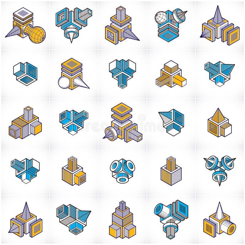 Techniek abstracte vorm, geplaatste vectoren royalty-vrije illustratie