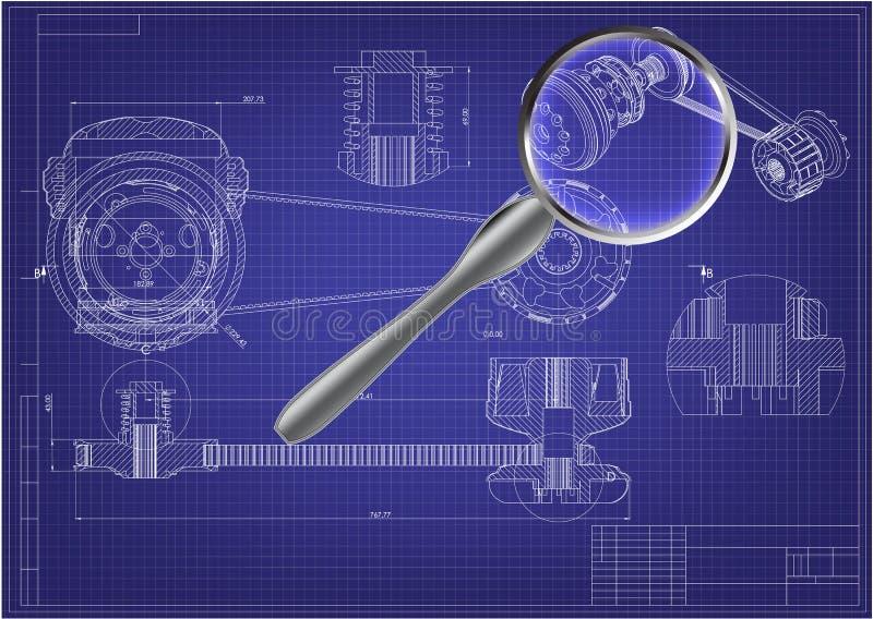 Techniek die op een blauw trekken 3d vector illustratie