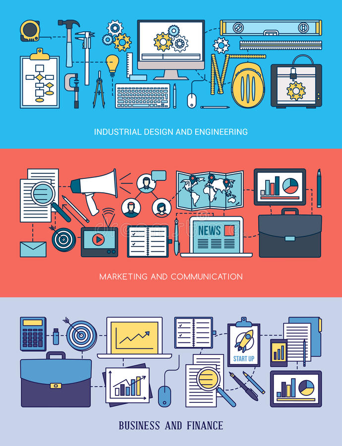 Techniek, marketing en bedrijfsbannerreeks royalty-vrije illustratie