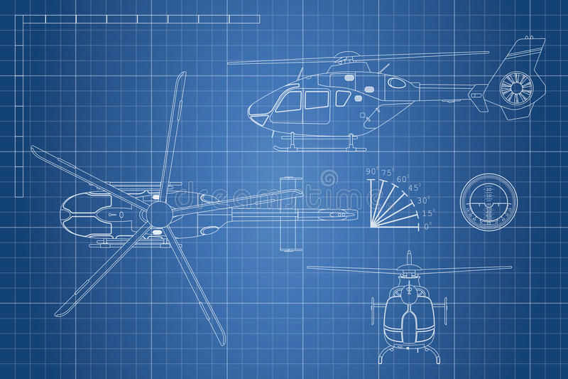 Techniekblauwdruk van helikopter De helikopters bekijken: bovenkant, kant en voorzijde Industriële tekening royalty-vrije illustratie