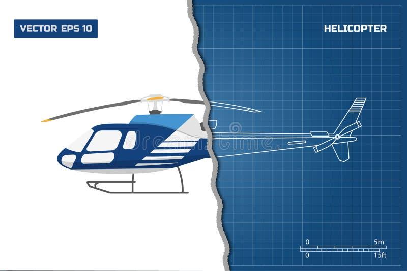 Techniekblauwdruk van helikopter De helikopters bekijken: bovenkant, kant en voorzijde Industriële tekening stock illustratie