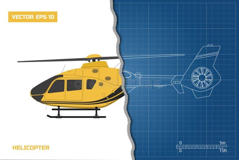 Techniekblauwdruk van helikopter De helikopters bekijken: kant Industriële tekening royalty-vrije illustratie