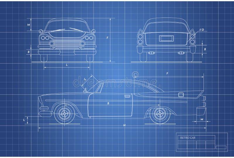 Techniekblauwdruk van retro auto Uitstekende cabriolet Voor, zij en achtermening Industriële tekening vector illustratie