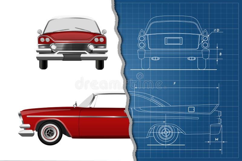 Techniekblauwdruk van retro auto Uitstekende cabriolet Voor, zij en achtermening Industriële tekening royalty-vrije illustratie