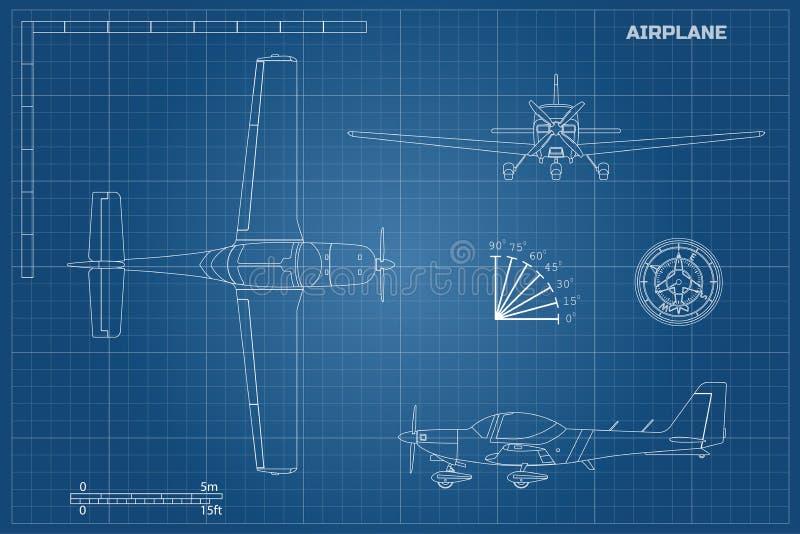Techniekblauwdruk van vliegtuig Sportvliegtuig vector illustratie