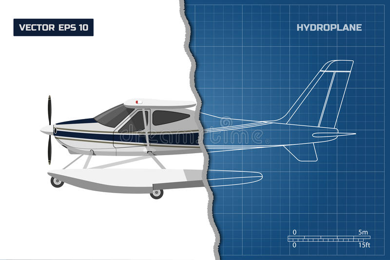 Techniekblauwdruk van vliegtuig Zijaanzicht van hydroplane Industriële tekening van vliegtuigen vector illustratie