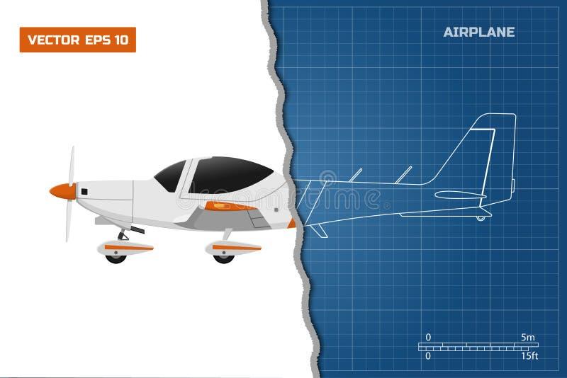 Techniekblauwdruk van vliegtuig Zijaanzichtvliegtuig royalty-vrije illustratie