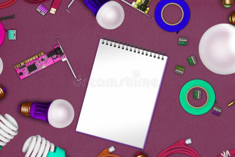 Techniekconcept op vachtstof met witte model en kabels, soldeerbouten, PCB, cleats, powersave bollen stock fotografie