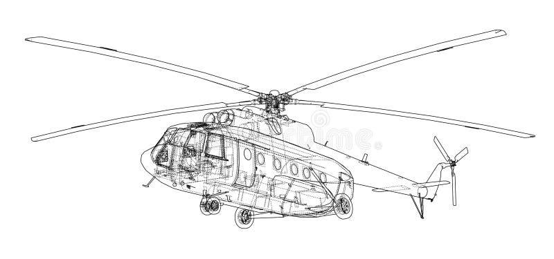 Techniektekening van helikopter stock illustratie