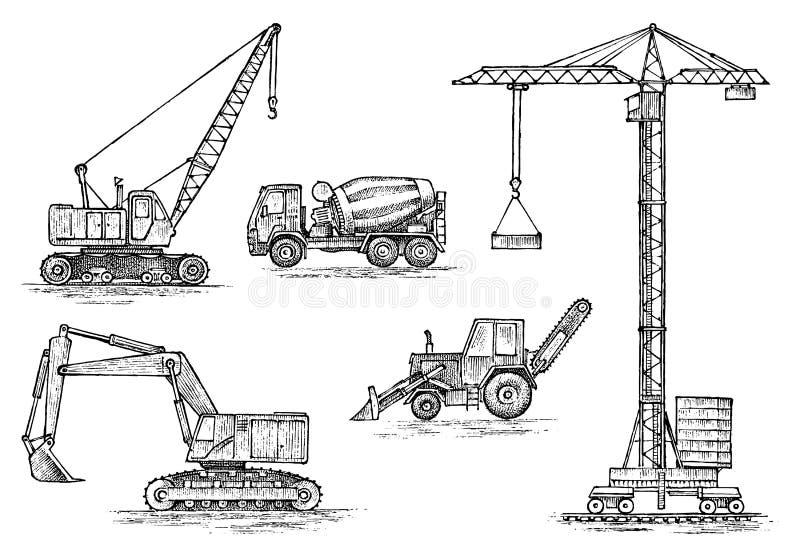 Techniekvoertuig Zwaar materiaal voor de bouw van gebouwen Het planten van de lente Kraan en agrimotor royalty-vrije illustratie