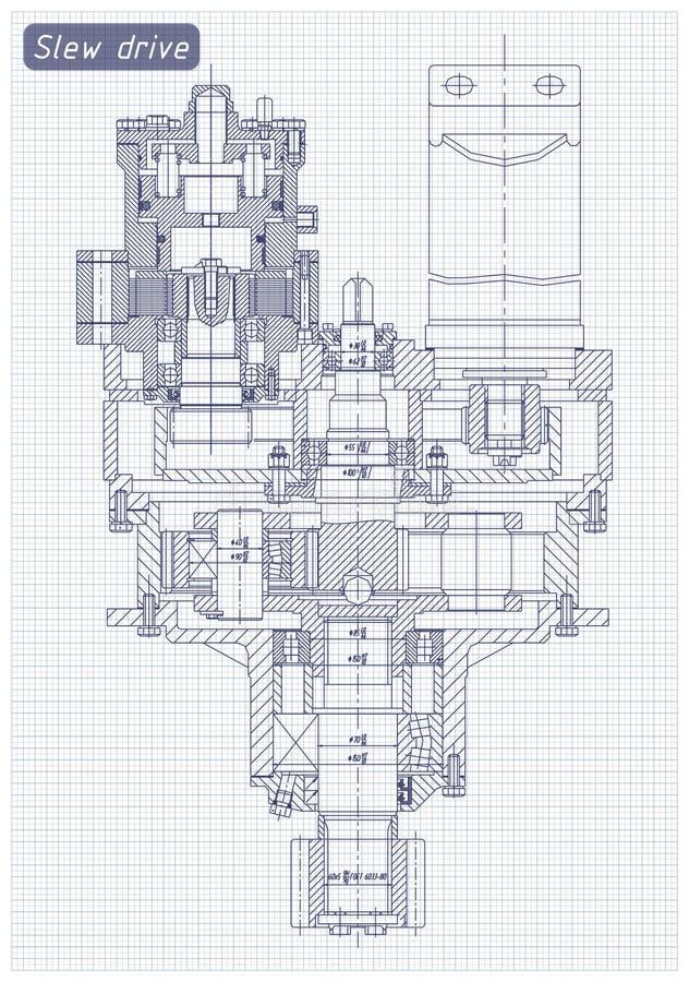 Technik-Auslegung und Lichtpause Durchlauf-Antrieb stock abbildung