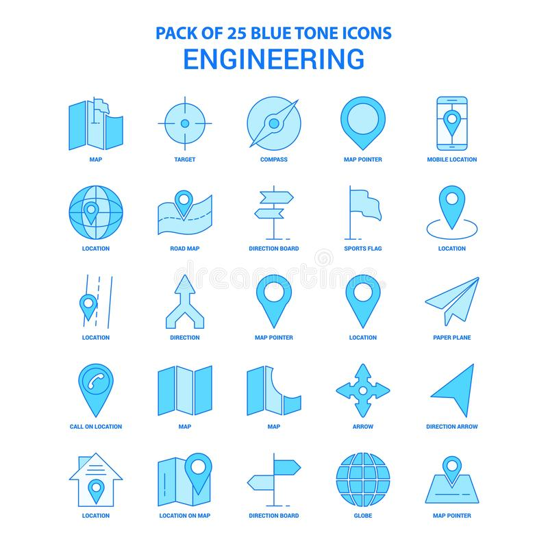 Technik blaue Tone Icon Pack - 25 Ikonen-Sätze lizenzfreie abbildung