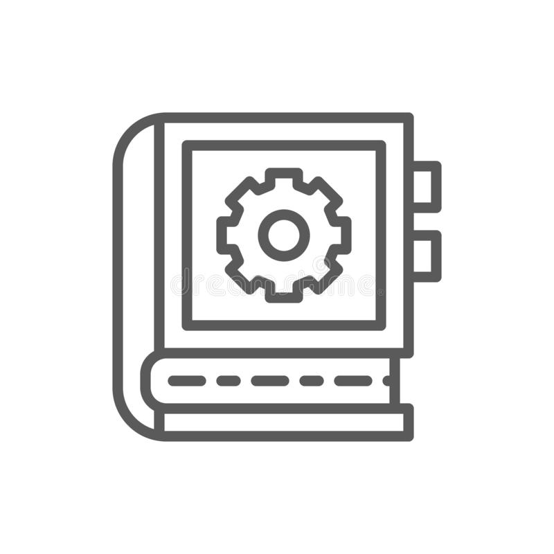 Technik der Betriebsanleitungslinie Ikone vektor abbildung