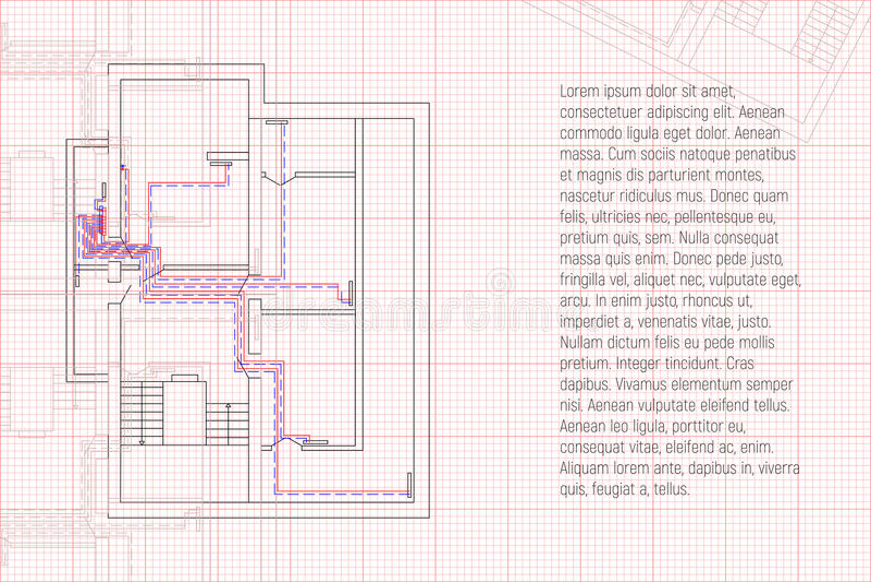 Technik HVAC-Projekt Erhitzender technischer Plan Architekturskizze mit Ihrem Text stock abbildung