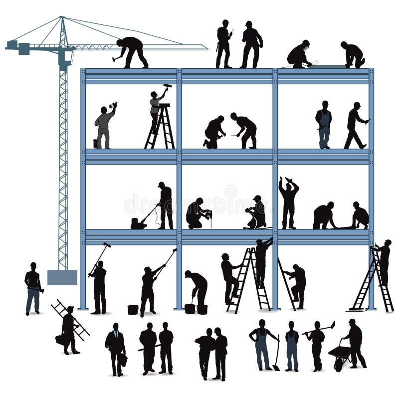 Technik i rzemieślnik w budować dom ilustracja wektor