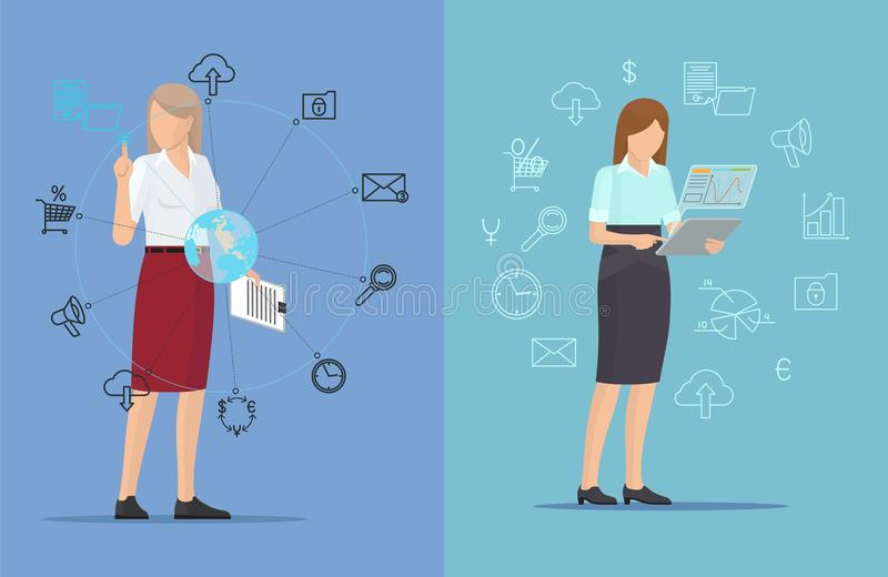 Technik ikony i Ruchliwie kobiety, Dwa Kolorowego plakata ilustracja wektor