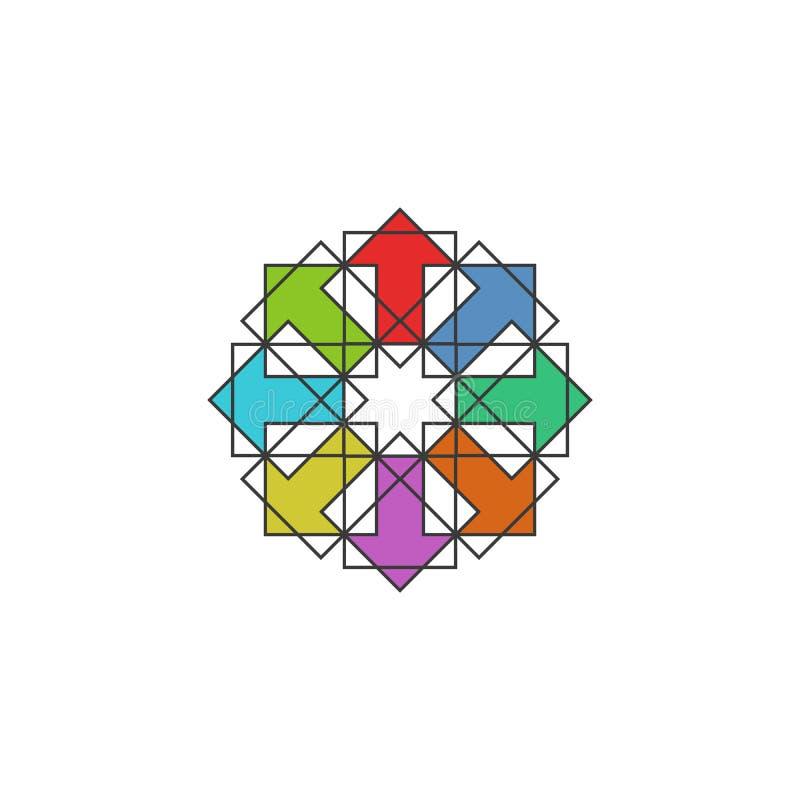 Technik kolorowych strzał arabski logo, mockup projekta element dla tradycyjnego muzułmańskiego symetria wzoru emblemata, sukces  royalty ilustracja