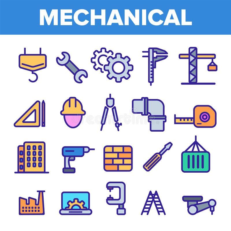 Technik Linie Ikonen-Satz-Vektor Techniker Design Maschinerie-Technik-Ikonen Industrielle Fabrik-Produktion d?nn lizenzfreie abbildung