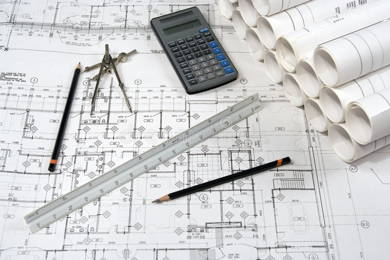 Technik-und Architektur-Zeichnungen lizenzfreies stockfoto