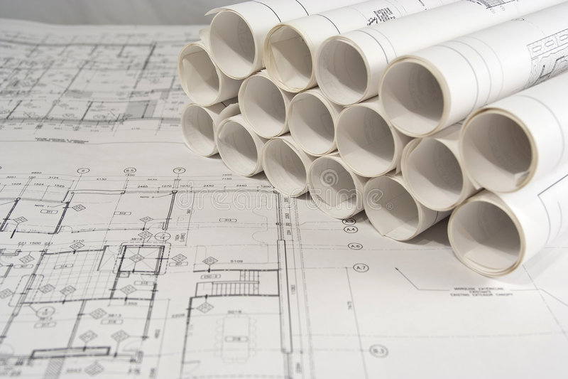 Technik und Architekturzeichnungen lizenzfreies stockbild